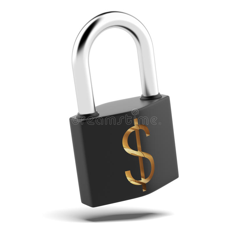 Padlock with dollar sign. Isolated on a white background royalty free illustration