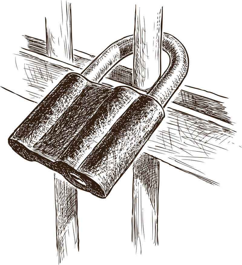 The padlock on a fencing. Vector drawing of an obsolete rusty padlock stock illustration