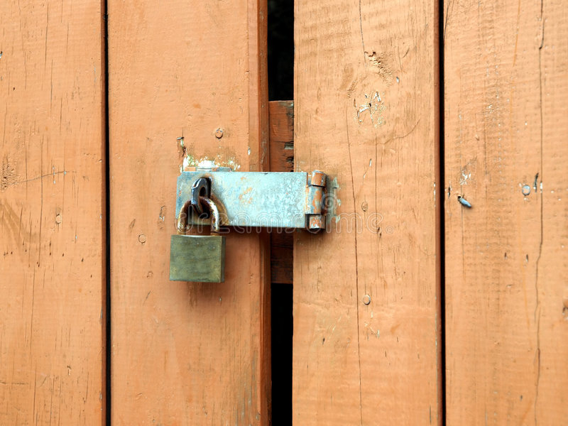 Download Padlock Hasp On Weathered Painted Door Stock Image - Image: 9187139