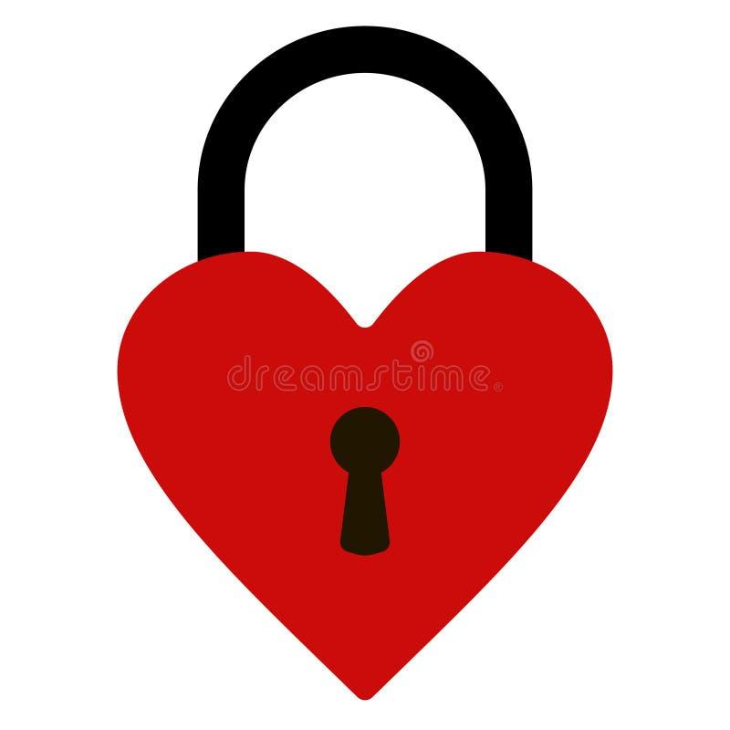 Padlock, heart shape, vector heart lock stock illustration