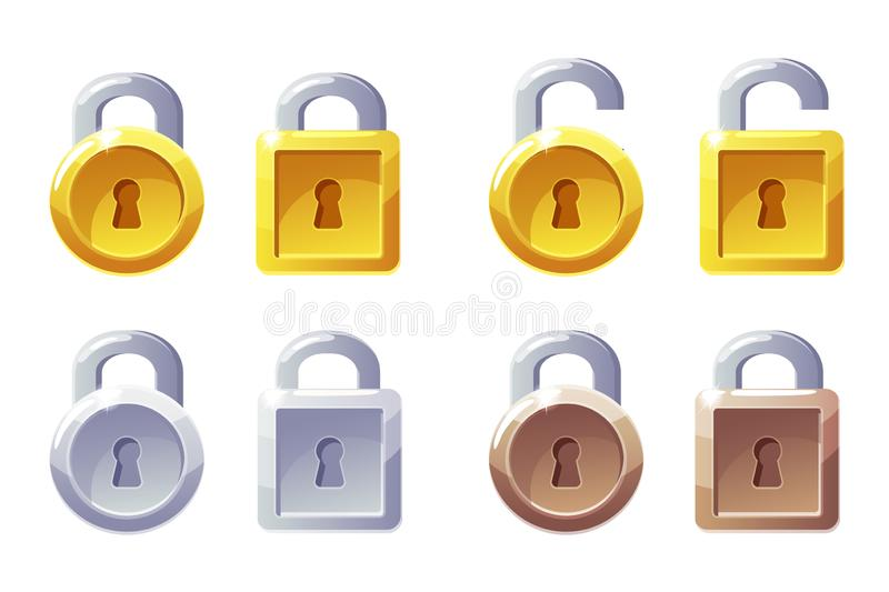 Padlock icon with square and round shape. Vector GUI Level Lock. Golden, silver and bronze padlocks. Icons on a separate layer vector illustration
