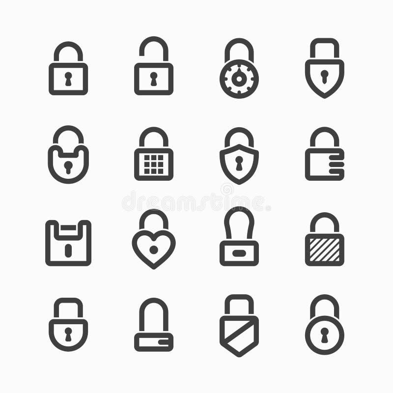Padlock icons. Set of padlock icons illustration royalty free illustration