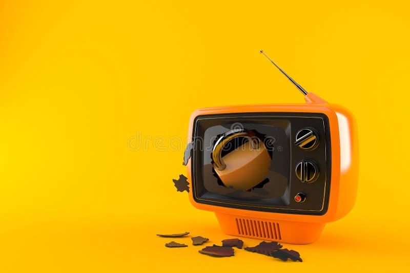 Padlock inside tv set. Isolated on orange background. 3d illustration royalty free illustration