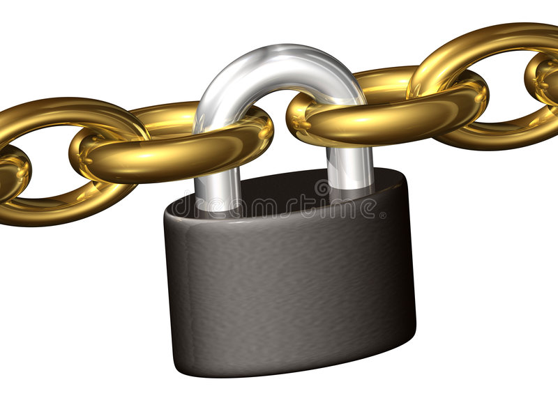 Download Padlock Keeping Chains Toghether Stock Illustration - Image: 1643161