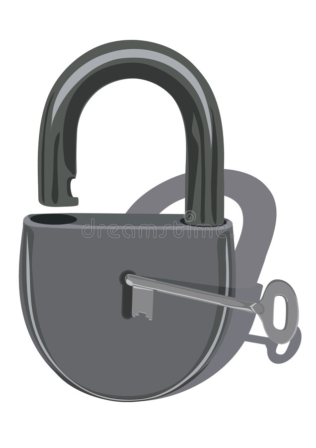 Download Padlock with key stock vector. Image of chrome, protection - 6788240