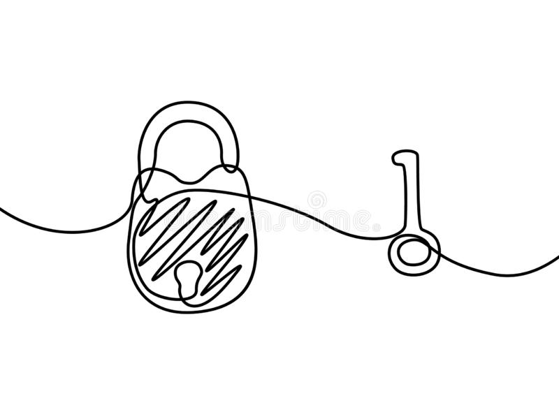 Padlock with key. Continuous line drawing. Vector illustration. stock illustration