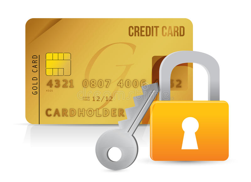 Download Padlock, Key And Credit Cards Stock Illustration - Image: 28907104