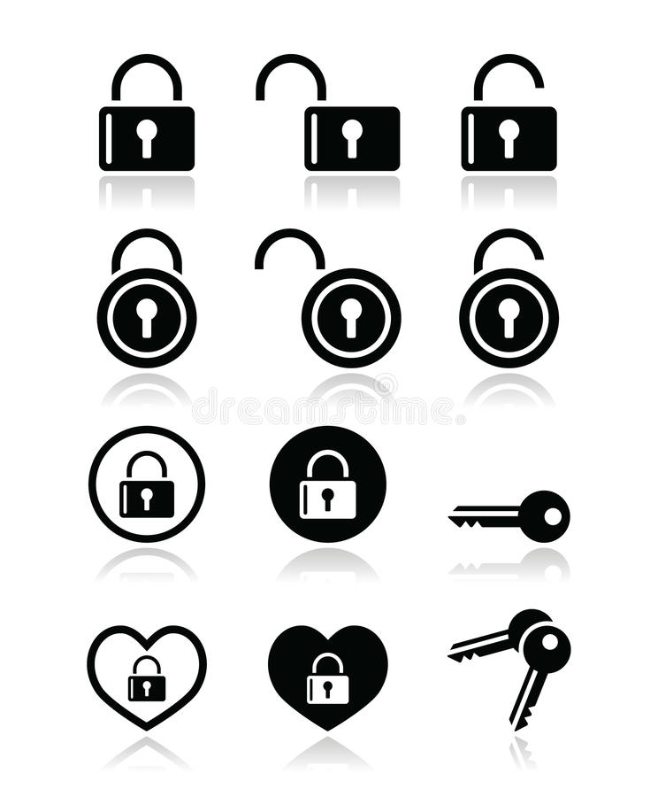 Download Padlock, key  icons set stock illustration. Image of gare - 32175781