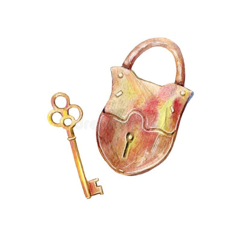 Padlock and key. Watercolor hand drawn illustration.White background royalty free illustration