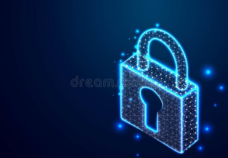 .padlock, lock security concept. Abstract Wireframe Low Poly Designs. Vector illustration royalty free illustration
