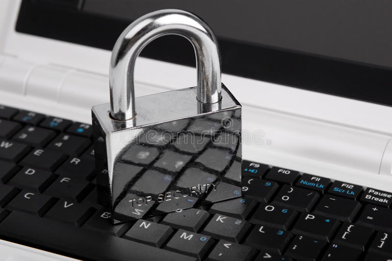 Download The Padlock On The Notebook Keyboard Stock Image - Image: 11467495