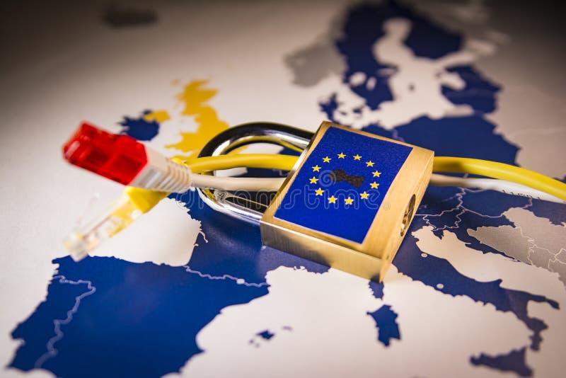 Padlock over EU map, GDPR metaphor. Padlock and net cable over EU map, symbolizing the EU General Data Protection Regulation or GDPR. Designed to harmonize data stock images