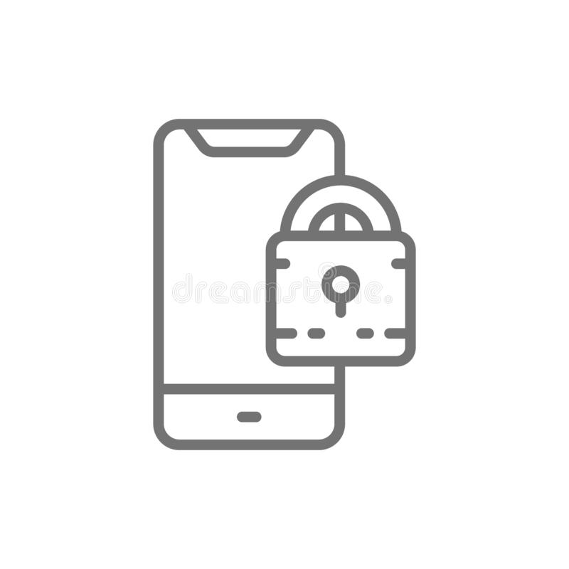 Padlock with phone, locked smartphone line icon. royalty free illustration