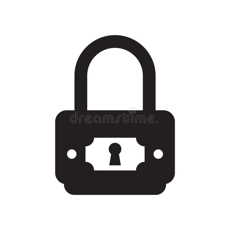 Padlock protection active icon vector isolated on white background, Padlock protection active sign , black symbols royalty free illustration