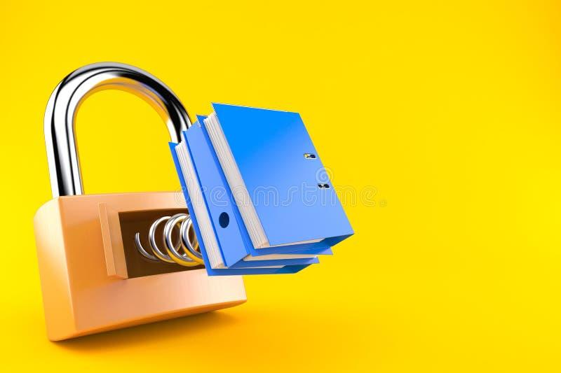 Padlock with ring binder. On orange background vector illustration