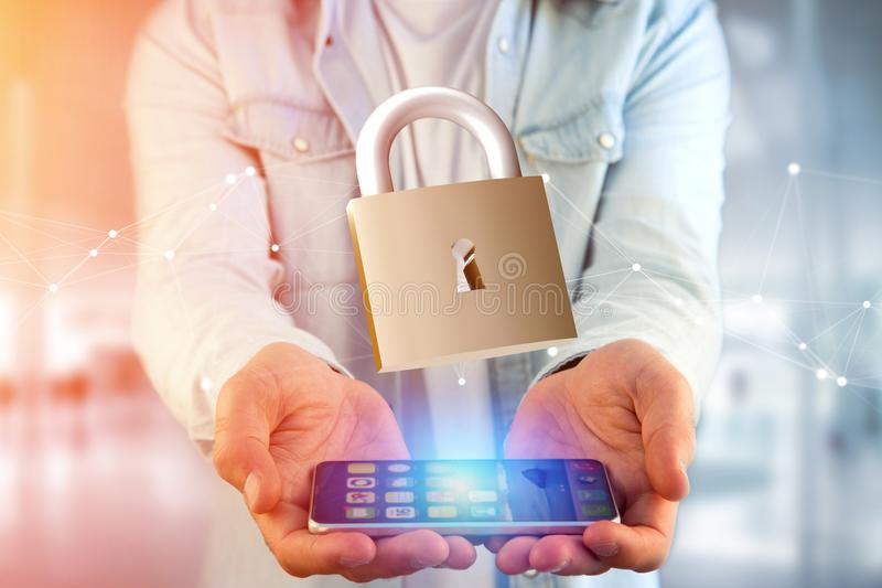 Padlock security connection isolated on a color background - 3d stock photography