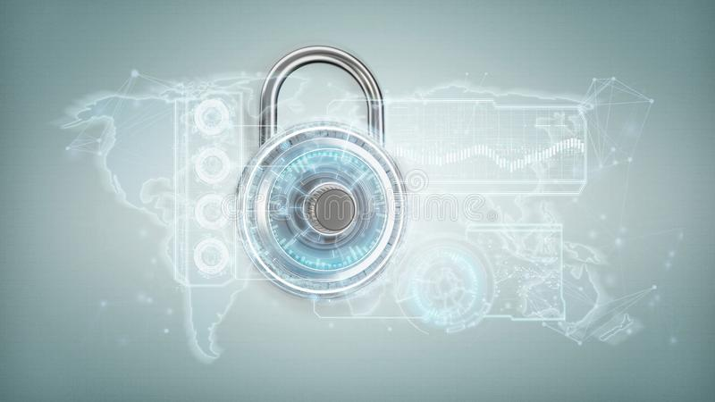Padlock security technology interface on a background 3. View of a Padlock security technology interface on a background 3d rendering royalty free illustration