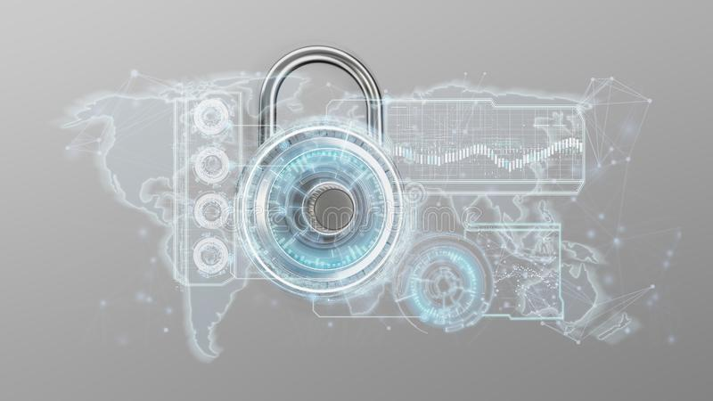 Padlock security technology interface isolated on a background 3. View of a Padlock security technology interface isolated on a background 3d rendering royalty free illustration