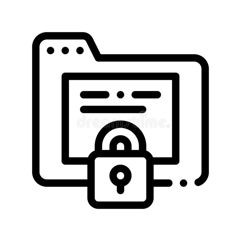 Padlock Site Coding System Vector Thin Line Icon. Binary Coding System, Data Encryption Linear Pictogram. Web Development, Programming Languages, Bug Fixing royalty free illustration