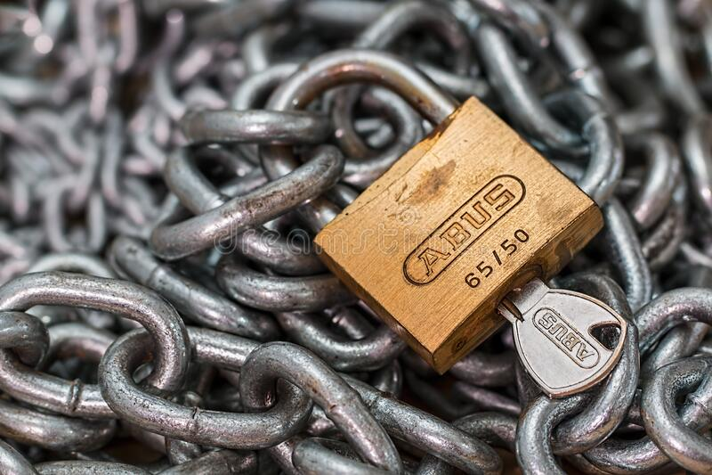 Padlock and steel chain