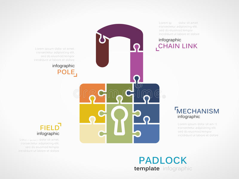 Padlock. Tools concept infographic template with padlock made out of puzzle pieces stock illustration
