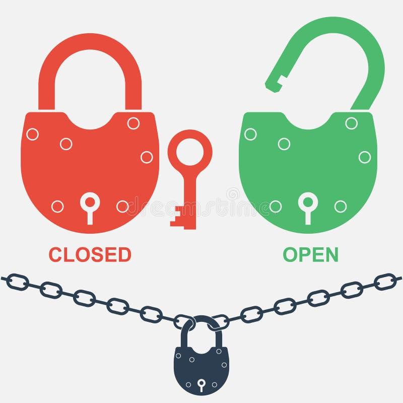 padlock Två stängda positioner - som är öppna och stock illustrationer