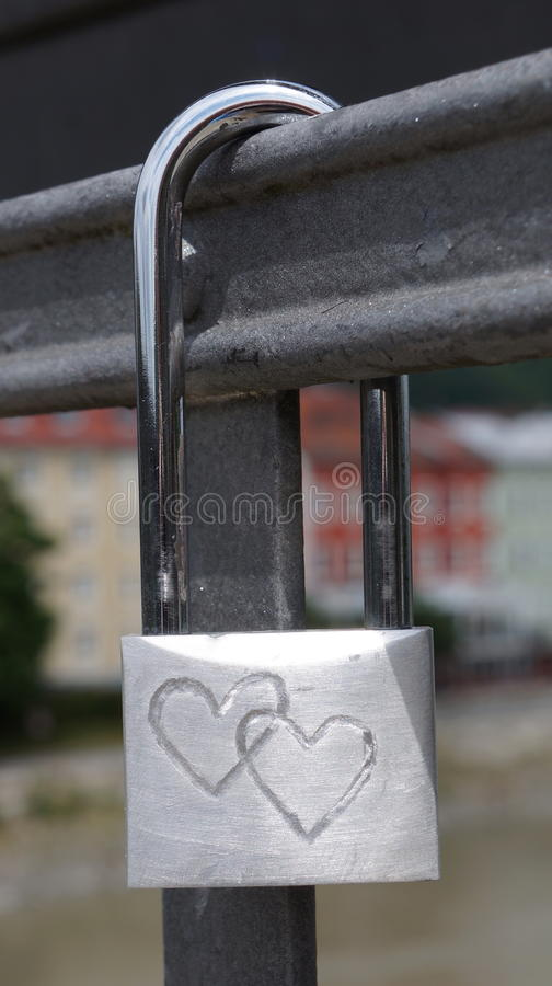 Padlock with two hearts royalty free stock image