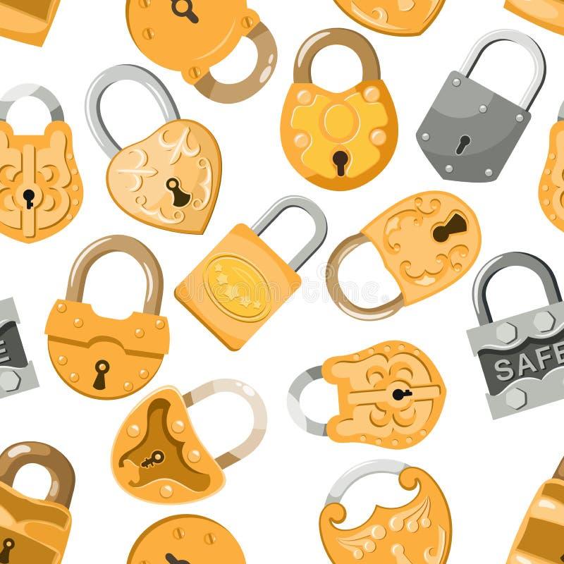 Padlock Vektorverschluß für Sicherheitsschutz mit verschlossenem sicherem Mechanismus, um ineinanderzugreifen oder der Ausrück-Bl vektor abbildung