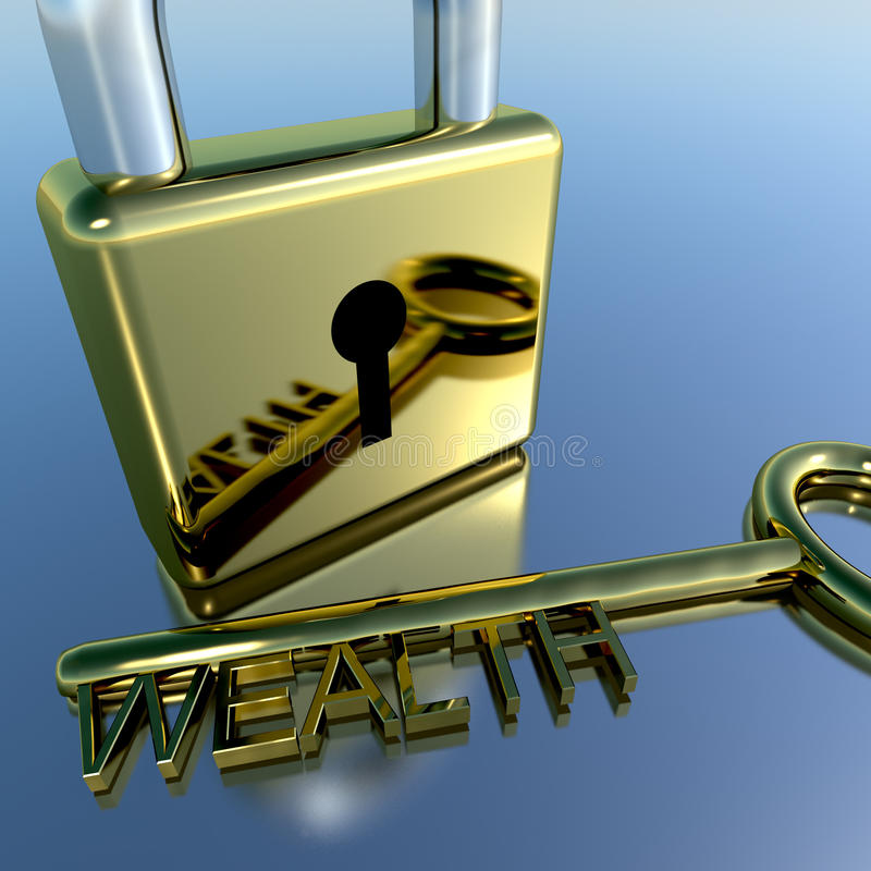 Padlock With Wealth Key Showing Riches Savings And Fortune. S royalty free stock photo