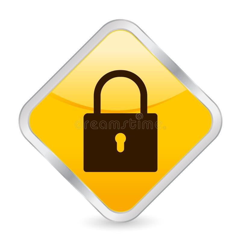 Padlock yellow square icon stock illustration