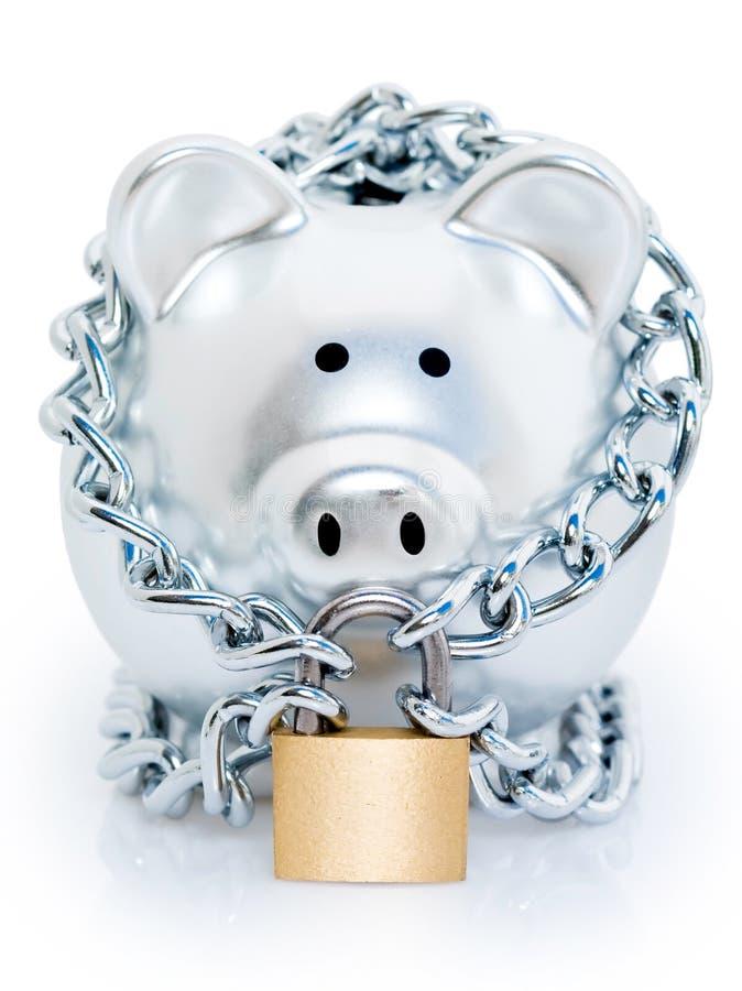 Padlocked piggy bank stock photo