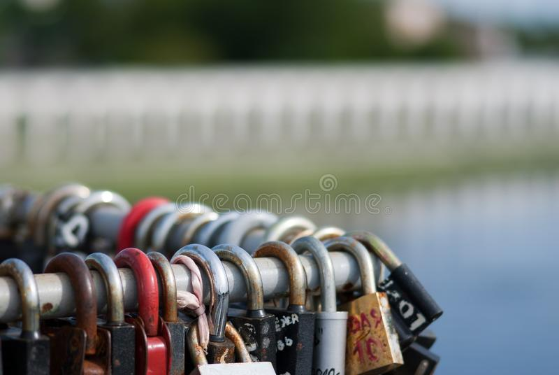Padlocks on the bridge stock image