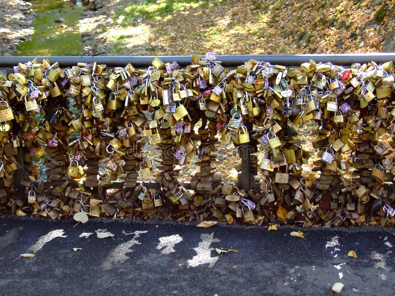Padlocks on the bridge of love where young and in love couples swear and. Lock in to eternal love. Vnjacka banja, spa center in central Serbia stock photos