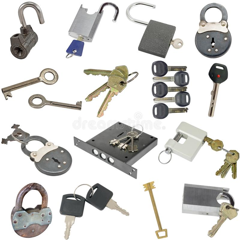 Padlocks and keys isolated on white royalty free stock image