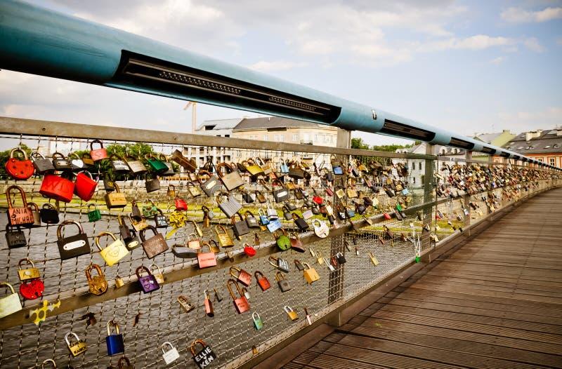 Padlocks of love footbridge stock image