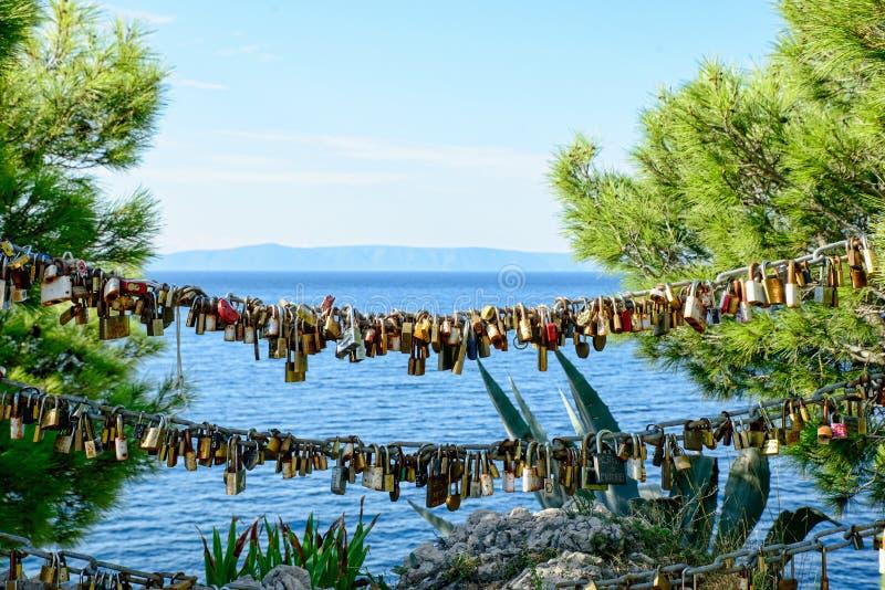 Padlocks of love Makarska royalty free stock photo