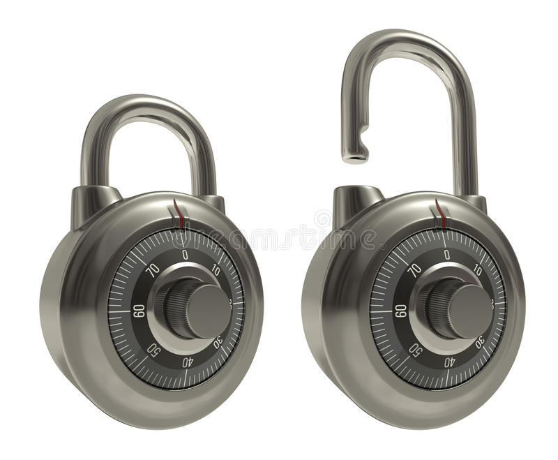 Padlocks Over White Stock Image