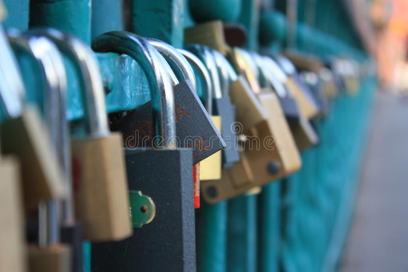 Padlocks on the Tumski bridge in Wroclaw royalty free stock image