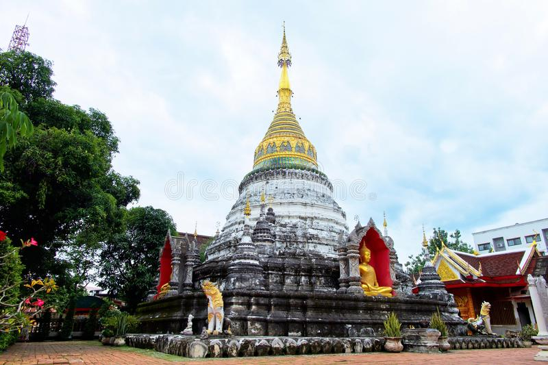 Padoda at Buppharam Temple at Chiangmai, Thailand. Beautiful buddhist temple royalty free stock photography