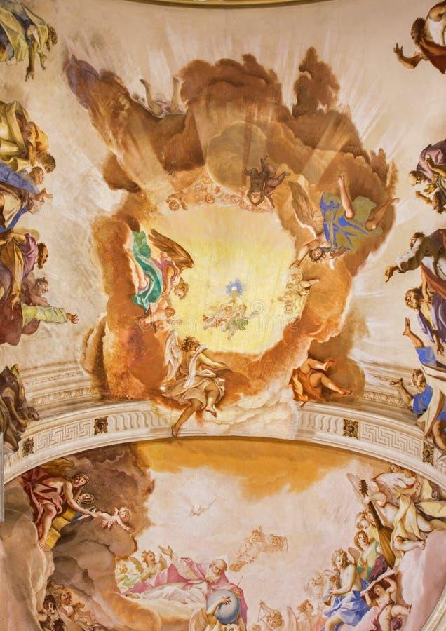 Padoue - fresque sur le plafond du presbytère des Di Santa Giustina de basilique par Sebastiano Ricci (1700) photographie stock