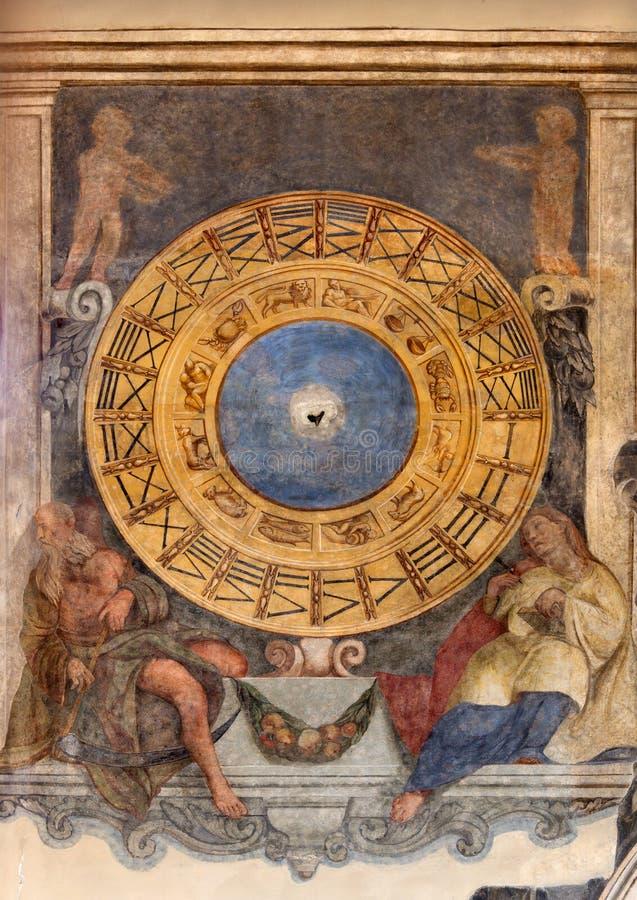 Padoue - le fresque de l'horloge et le zodiaque dans le dei Servi de Santa Maria d'église images stock