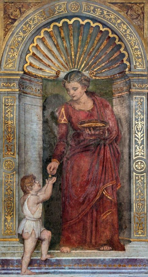 Padoue - le fresque du virute cardinal d'amour dans la chapelle Santa Maria della Carita dans l'église San Francesco del Grande image libre de droits
