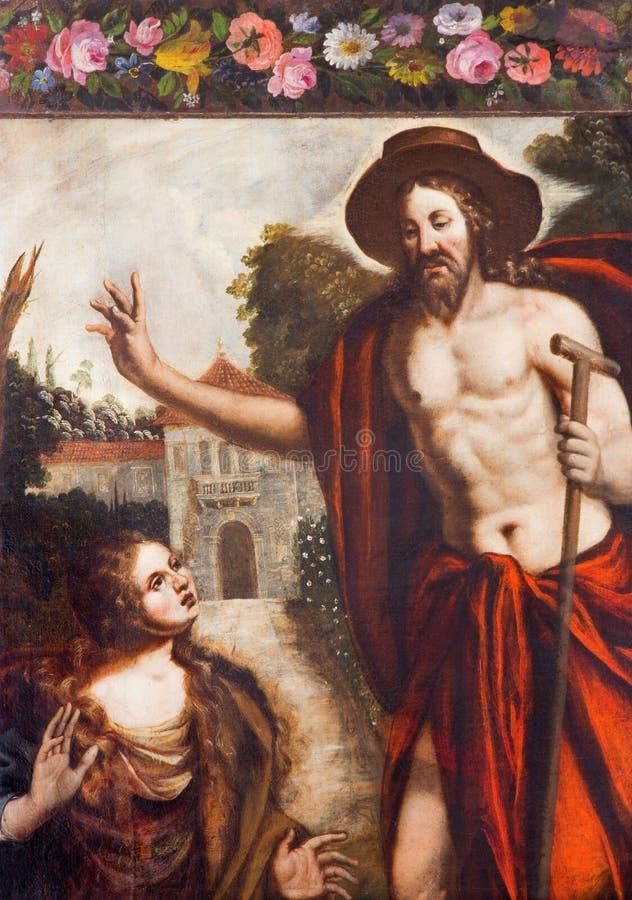 Padoue - peinture du Christ comme jardinier et de scène de St Mary Magdalene dans l'église Chiesa di San Gaetano photo libre de droits