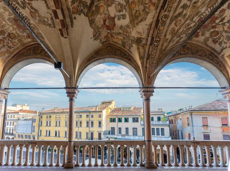 View from the Palazzo della Ragione to the Piazza delle Erbe during summer. Padova, Italy, August 30th, 2017: View from the Palazzo della Ragione to the Piazza stock photo
