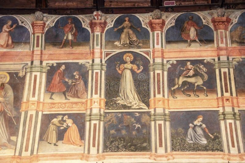 Palazzo della Ragione. At Padova - Italy - On october 2018 - detail of vast frescoes cycle decorating the Sala or main hall of Padua`s Palazzo della Ragione the stock photography