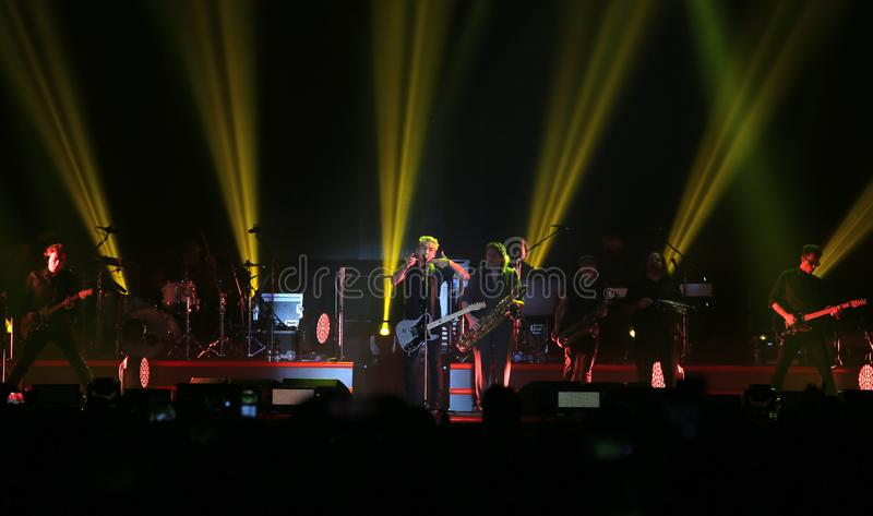Padova, Italy - October 20, 2017: Live Concert indoor of Luciano. Ligabue afamous Italian pop and rock singer and composer with his band and many light on the royalty free stock image
