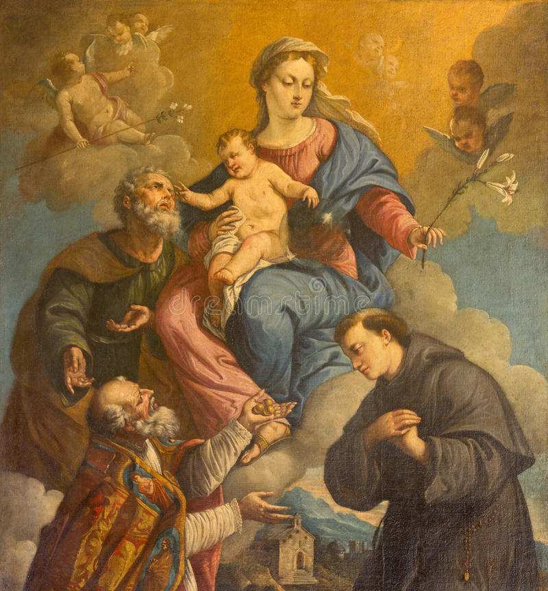 Padova - la famiglia ed i san santi Nicholas ed Anthony di Padova da un pittore sconosciuto di 18 centesimo nella chiesa di San N immagini stock