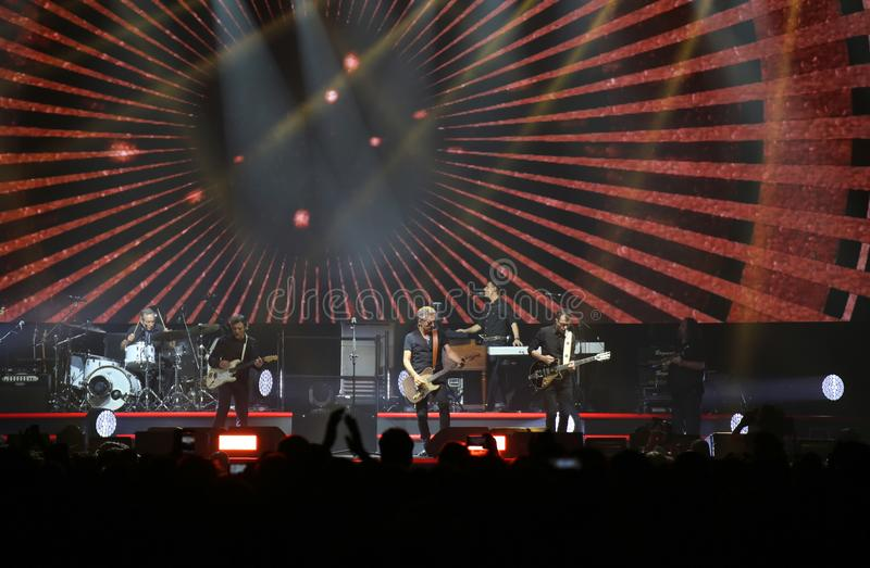 Padova, PD, Italy - October 20, 2017: Live Concert indoor of Luciano Ligabue an Italian rock singer with his band - editorial use. Padova, PD, Italy - October 20 stock photo