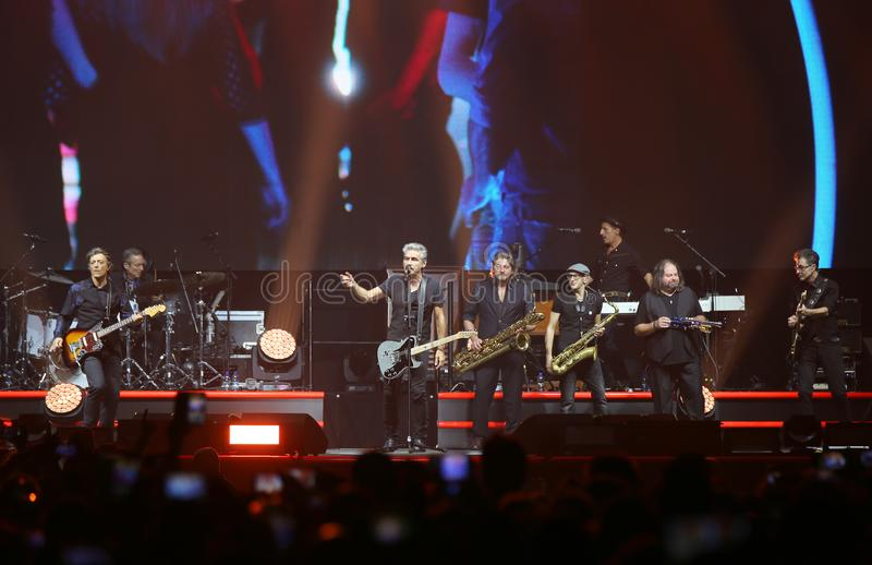 Padova, PD, Italy - October 20, 2017: Live Concert indoor of Luciano Ligabue an Italian rock singer and his band - editorial use. Padova, PD, Italy - October 20 stock photos