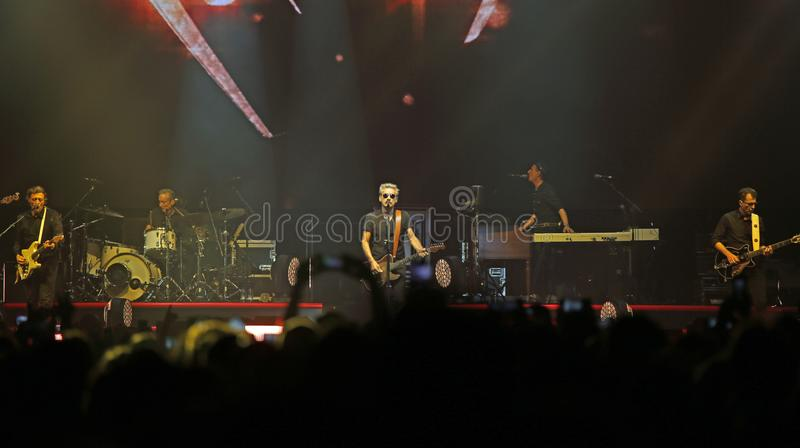 Padova, Italy - October 20, 2017: Live Concert indoor of Luciano. Padova, PD, Italy - October 20, 2017: Live Concert indoor of Luciano Ligabue an Italian pop and royalty free stock images
